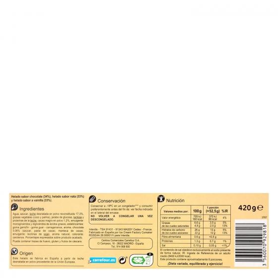 Bloque de helado de nata, cacao y vainilla  Carrefour 1 l. - 1
