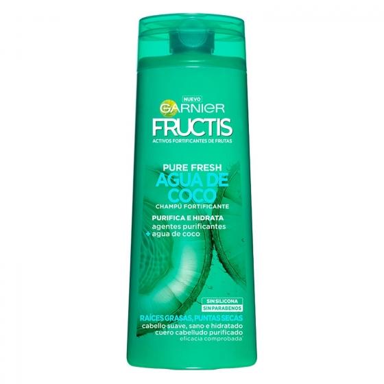 Champú fortificante Pure Fresh Agua de Coco para raíces grasas y puntas secas Garnier-Fructis 360 ml.