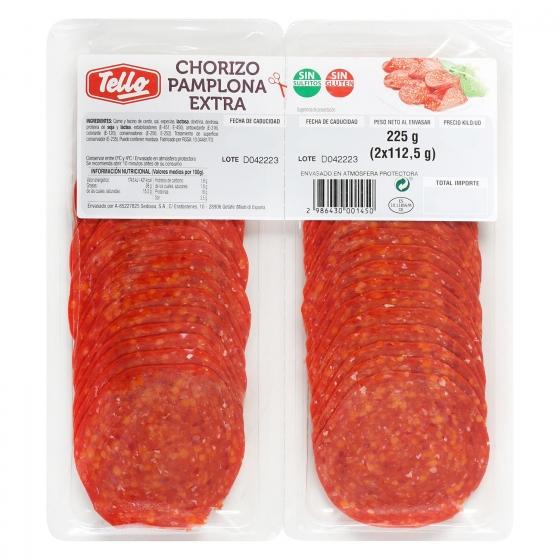 Chorizo pamplona Tello bipack loncheado (2x112,5g) 225 g - 1