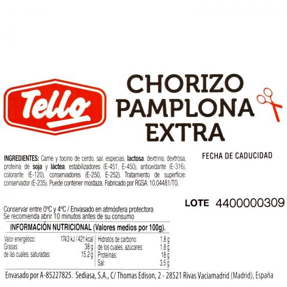 Chorizo pamplona Tello bipack loncheado (2x112,5g) 225 g - 3