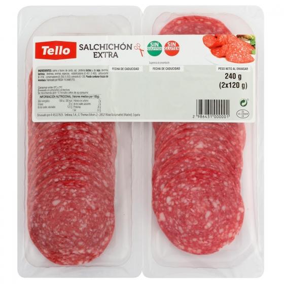 Salchichón extra loncheado Tello bipack 2 envases 120 g