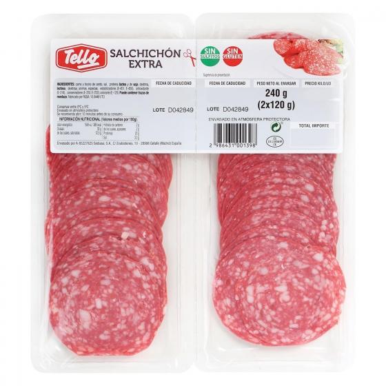 Salchichón extra loncheado Tello bipack 2 envases 120 g - 1