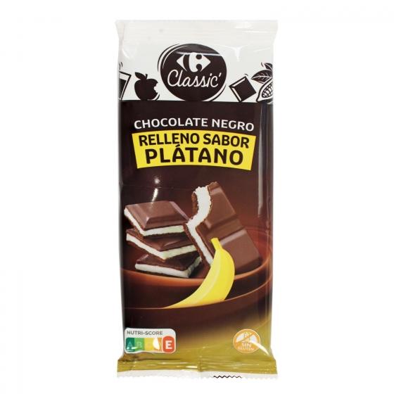 Chocolate negro relleno de plátano Carrefour 100 g.