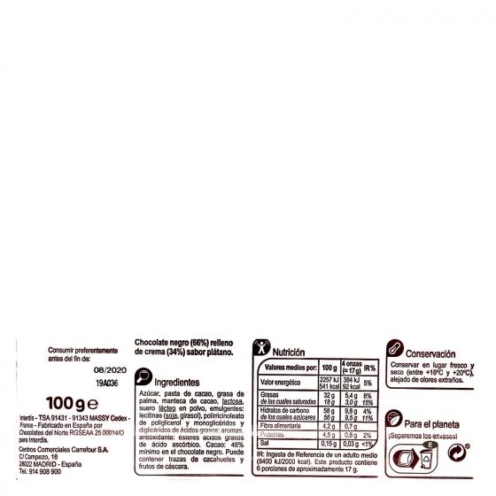 Chocolate negro relleno de plátano Carrefour 100 g. - 1