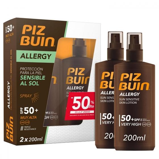 Spray solar SPF 50 Allergy Piz Buin pack de 2 unidades de 200 ml.