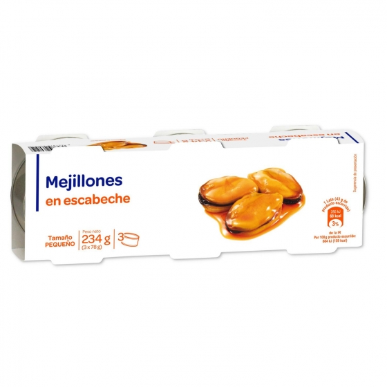 Mejillones en escabeche pack de 3 unidades de 78 g.