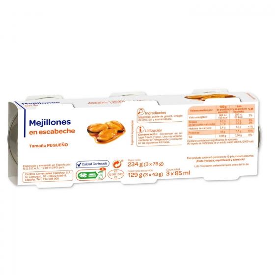 Mejillones en escabeche pack de 3 unidades de 78 g. - 1