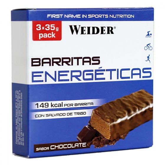 Barritas energéticas sabor chocolate Weider pack de 3 barritas de 35 g.