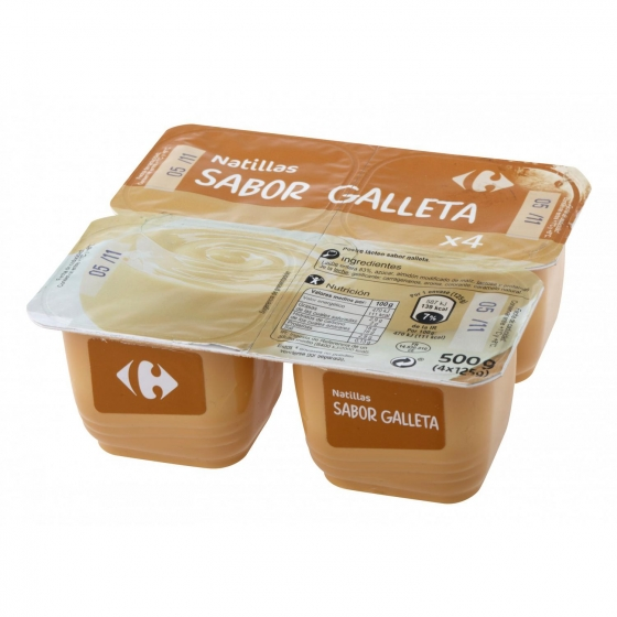 Natillas sabor galleta Carrefour pack de 4 unidades de 125 g.