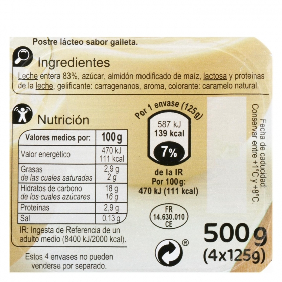 Natillas sabor galleta Carrefour pack de 4 unidades de 125 g. - 1