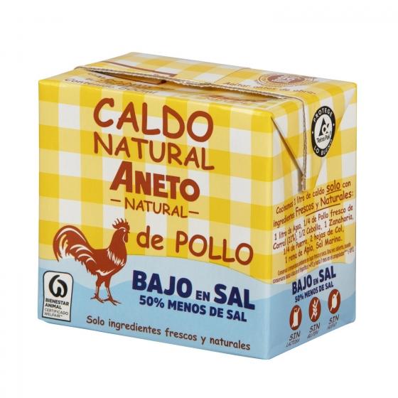Caldo natural de pollo bajo en sal Aneto sin gluten y sin lactosa 500 ml.