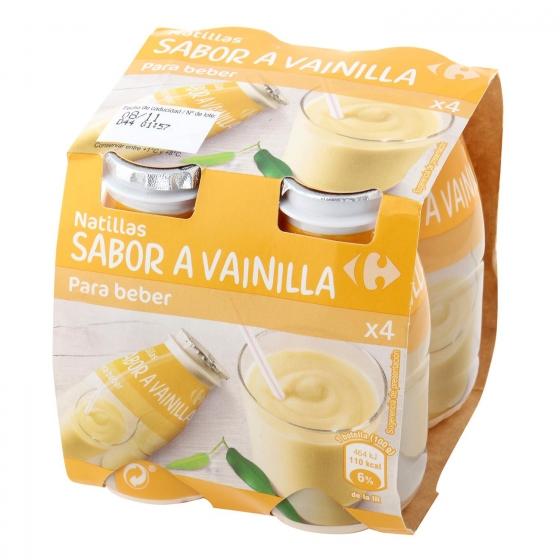 Natillas para beber de vainilla Carrefour pack de 4 unidades de 100 g.
