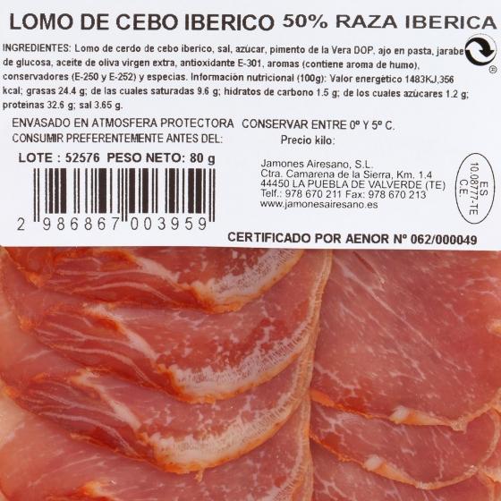 Lomo de cebo ibérico 50% raza ibérica Airesano sobre 80 g  - 1