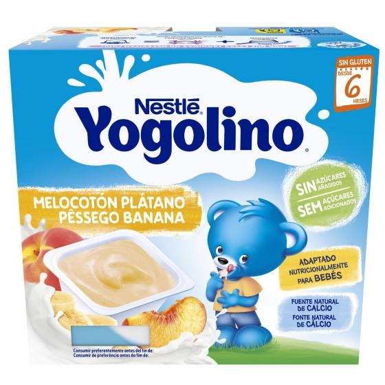 Postre lácteo de melocotón y plátano desde 6 meses Nestlé Yogolino sin gluten pack de 4 unidades de 100 g. - 1