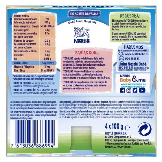 Postre lácteo de melocotón y plátano desde 6 meses Nestlé Yogolino sin gluten pack de 4 unidades de 100 g. - 3