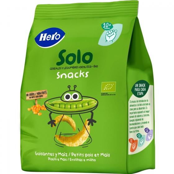 Snacks de guisantes y maíz ecológicos Hero Baby Solo 50 g.