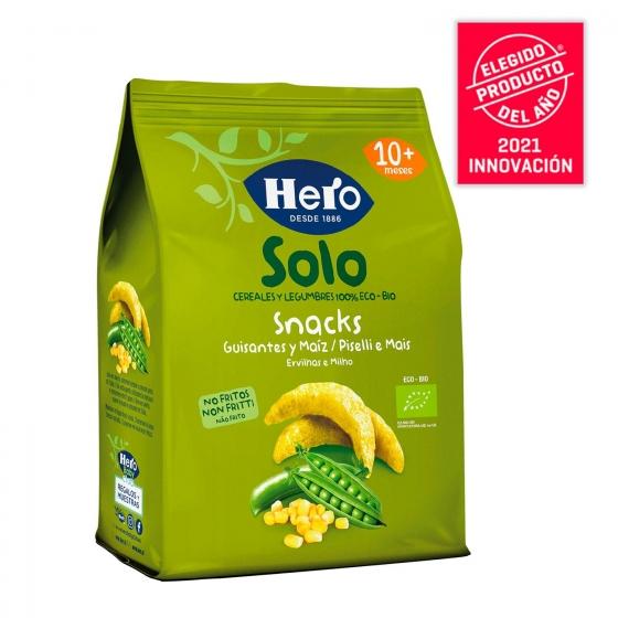 Snacks de guisantes y maíz ecológicos Hero Baby Solo 50 g. - 1