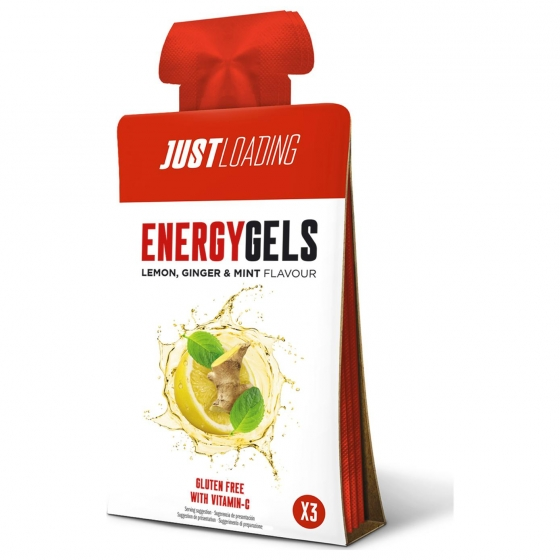 Gel energético sabor limón, hierbabuena y jengibre Loading sin gluten y sin lactosa pack de 3 bolsitas de 40 g.