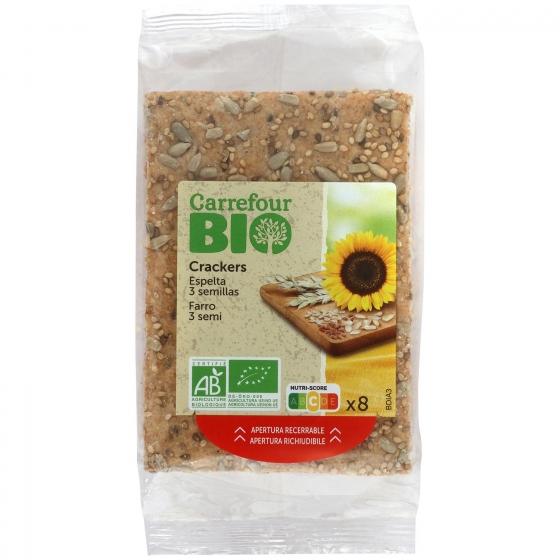 Crackers de trigo de espelta con semillas ecológicos Carrefour Bio 200 g.