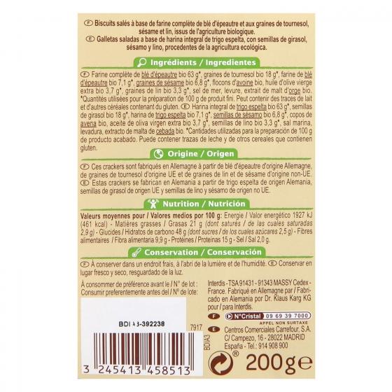 Crackers de trigo de espelta con semillas ecológicos Carrefour Bio 200 g. - 1