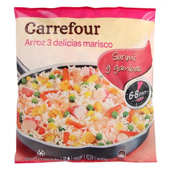 Arroz tres delicias con marisco Carrefour 500 g.