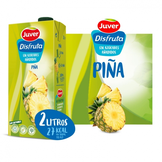 Zumo de piña Juver sin azúcar añadido brik 2 l.