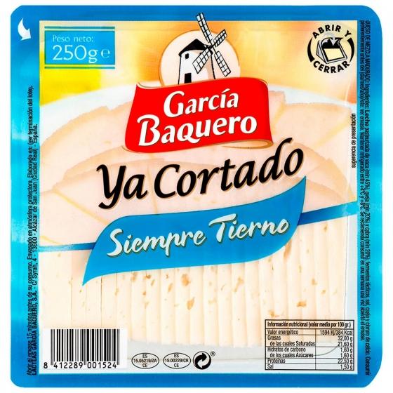 Queso tierno cuña ya cortada García Baquero 250 g