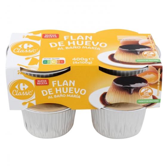 Flan de huevo al baño María Carrefour pack de 4 unidades de 100 g.
