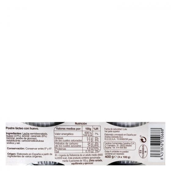 Flan de huevo al baño María Carrefour pack de 4 unidades de 100 g. - 1