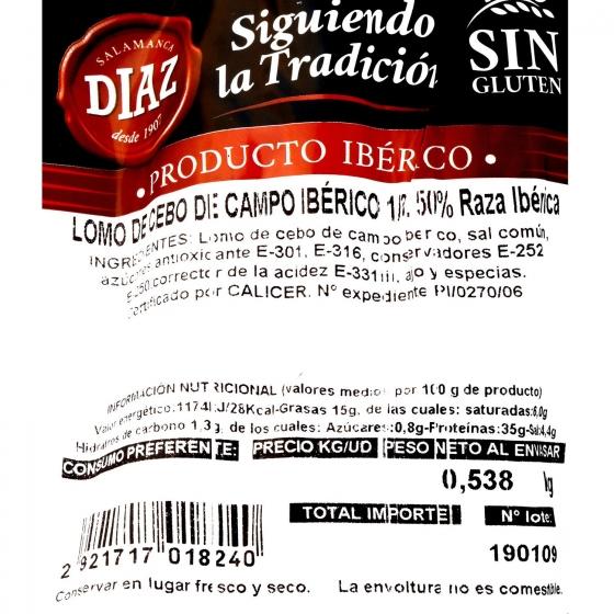 Lomo ibérico de cebo de campo Embutidos Díaz 1/2 pieza 300 g aprox  - 3