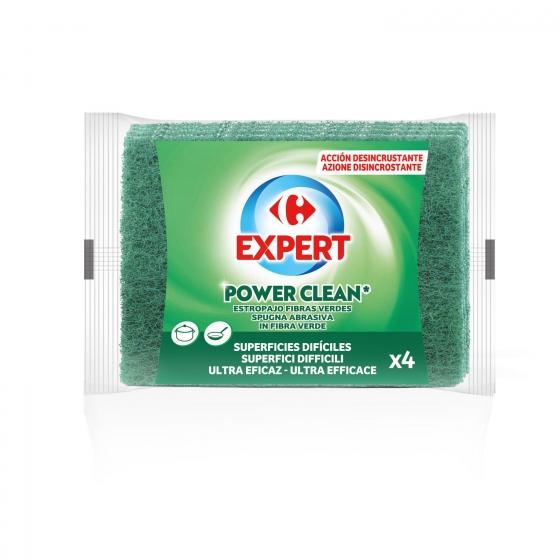 4 Estropajos fibra Carrefour - Verde