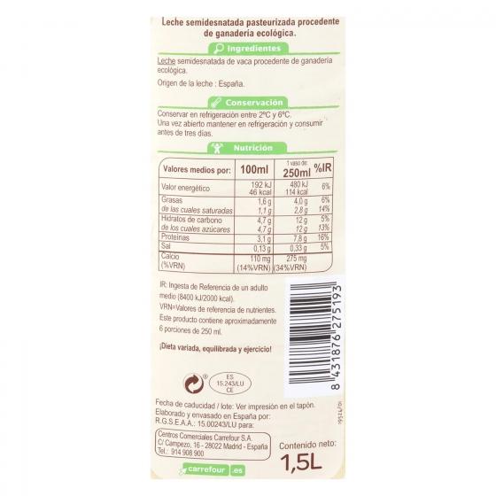 Leche semidesnatada fresca Carrefour Bio botella 1,5 l. - 1
