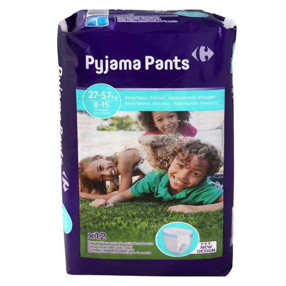 Ropa interior absorbente noche Pyjama Pants Carrefour 8-15 años (27kg-57 kg.) 12 ud.