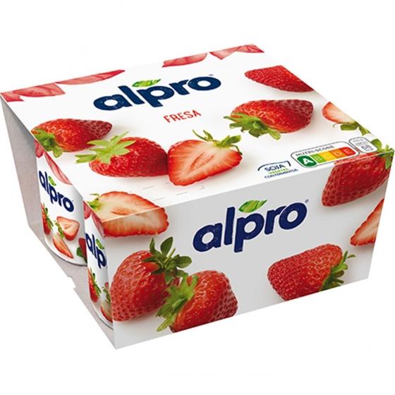 Preparado de soja sabor fresa Alpro sin lactosa pack de 4 unidades de 125 g.