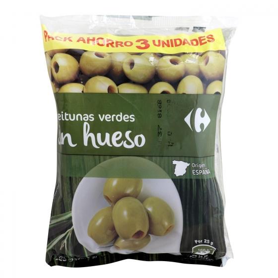 Aceitunas verdes sin hueso Carrefour pack de 3 unidades de 75 g.