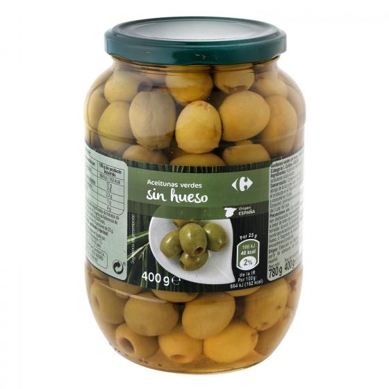Aceitunas verdes sin hueso Carrefour 400 g.