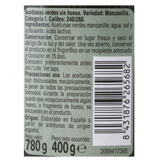 Aceitunas verdes sin hueso Carrefour 400 g. - 1