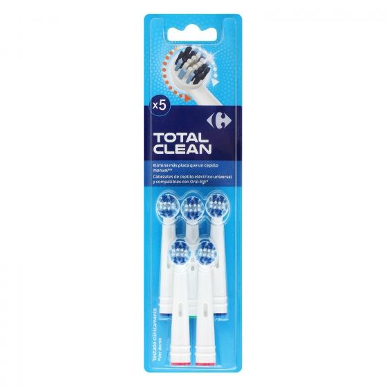 Recambio cepillo dental eléctrico Total Clean Carrefour 5 ud.