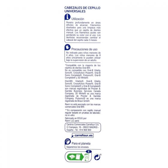 Recambio cepillo dental eléctrico Total Clean Carrefour 5 ud. - 1