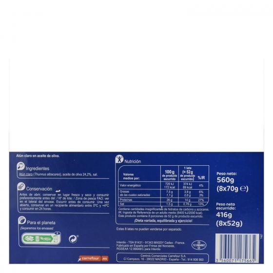 Atún claro en aceite de oliva Carrefour pack de 8 unidades de 52 g. - 1