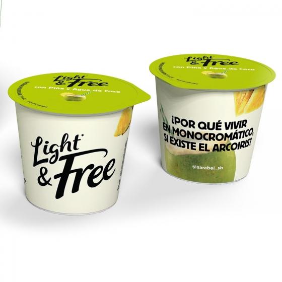 Yogur desnatado con piña y agua de coco Danone Light&Free pack de 4 unidades de 115 g. - 1