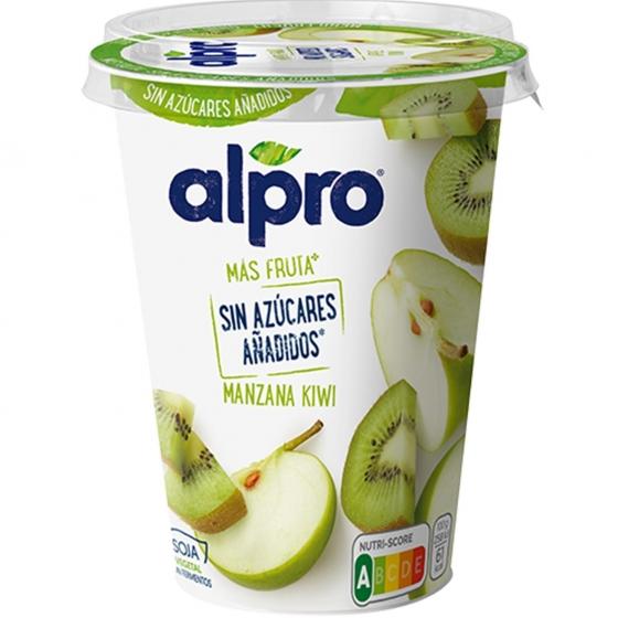 Preparado de soja sabor manzana y kiwi sin azúcar añadido Alpro 400 g.