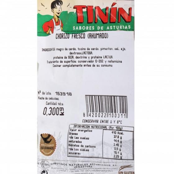 Chorizo 1ª de Cerdo Asturiano Emb. Naturales Asturianos 300 g - 1