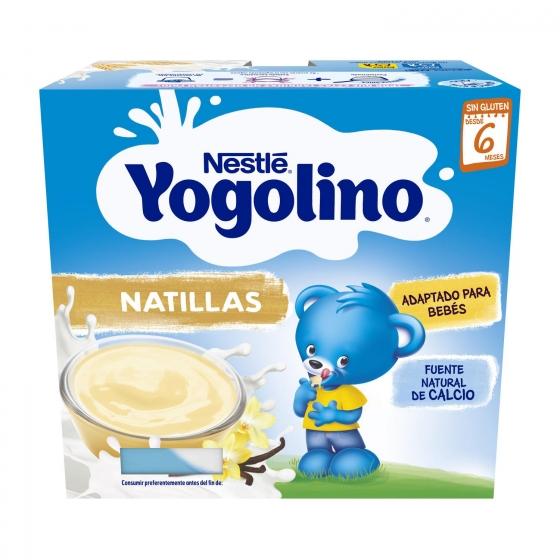 Natillas sabor vainilla desde 6 meses Nestlé Yogolino sin gluten pack de 4 unidades de 100 g.