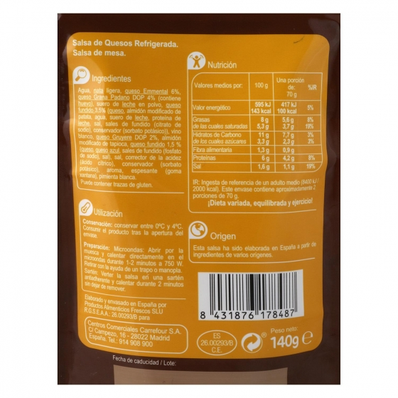 Salsa de quesos Carrefour sobre 140 g. - 1