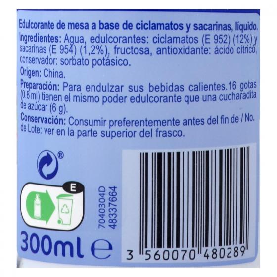 Edulcorante líquido Carrefour 300 ml. - 1