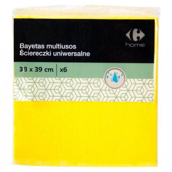 6 Bayetas Multiusos  Carrefour   - Amarilla