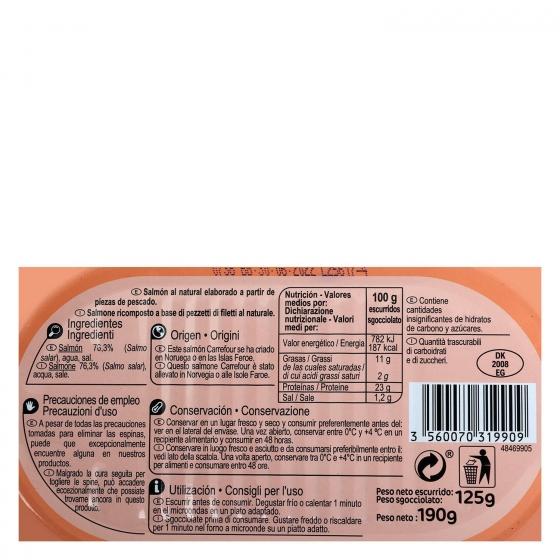 Salmón al natural Carrefour 125 g. - 1