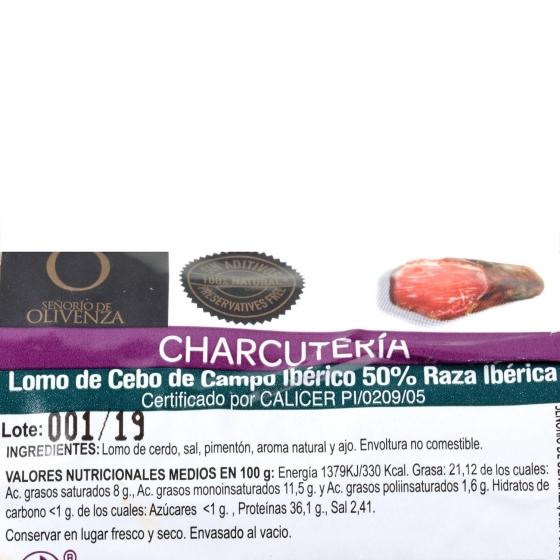 Lomo ibérico de cebo 50% raza ibérica taco Señorio de Olivenza pieza 600 g aprox - 3