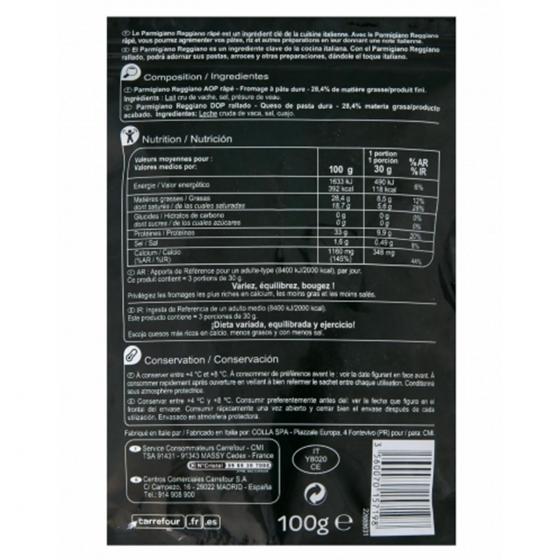 Queso rallado parmesano Carrefour 100 g. - 1